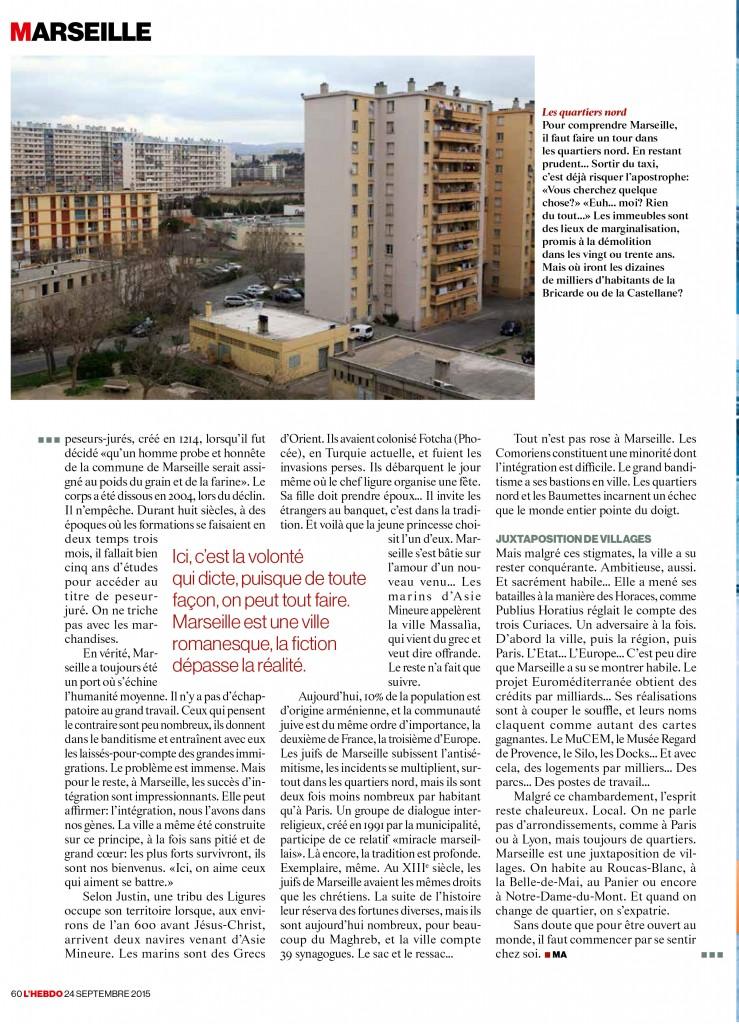 Magazine L'Hebdo - Suisse - 24 septembre 2015 - dossier Marseille