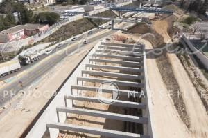 France, Bouches-du-Rhône (13), Marseille, Saint Jérôme, chantier de la rocade L2, Spie Batignolles (vue aérienne)