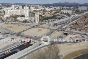 France, Bouches-du-Rhône (13), Marseille, échangeur Florian, chantier de la rocade L2, Spie Batignolles (vue aérienne)