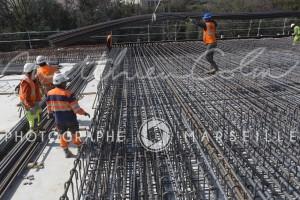 France, Bouches-du-Rhône, Marseille, travaux de la rocade L2 ou A507 contournement de 11 km reliant l'A7 à l'A50. Spie Batignolles, Sainte Marthe