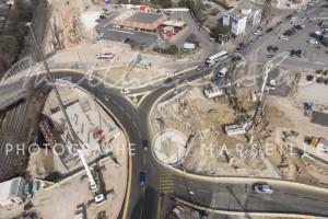 France, Bouches-du-Rhône (13), Marseille, Sainte Marthe, chantier de la rocade L2, Spie Batignolles (vue aérienne)
