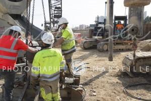 France, Bouches-du-Rhône, Marseille, travaux de la rocade L2 ou A507 contournement de 11 km reliant l'A7 à l'A50. Spie Batignolles, Saint Jérôme