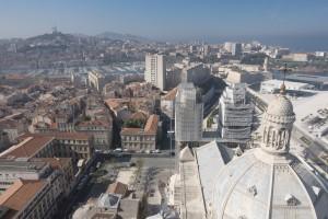 France, Bouches-du-Rhône (13),  Marseille, cathédrale de la Major en rénovation, échaffaudage Altrad Plettac Mefran (vue aérienne)