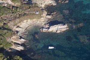France, Var (83), presqu'ile de Saint-Tropez, commune de Ramatuelle, plages de Pampelonne, Bonne Terrasse près de Cap Camarat (vue aerienne)