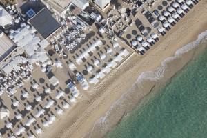 France, Var (83), presqu'ile de Saint-Tropez, commune de Ramatuelle, plages de Pampelonne (vue aerienne)