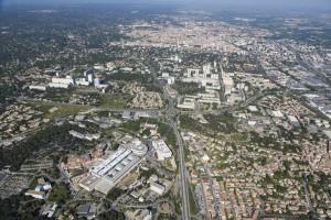 France, Gard (30), Nîmes, Pissevin, Valdegour, quartier en rénovation urbaine, CHU  (vue aérienne)