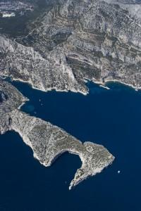 rance, Bouches-du-Rhône (13), Marseille et Cassis, Parc National des Calanques, massif des calanques, calanque et cabanons de Morgiou, Cap Morgiou  (vue aérienne)
