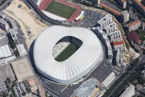 France, Bouches-du-Rhone (13),  Marseille, 8 ème arrondissement, le stade Orange Vélodrome et le parc Chanot, parc des expostions près du rond poind du Prado, vue d'hélicoptère à 1500 mètres (vue aérienne)