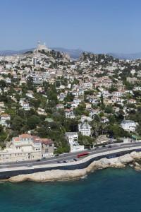 France, Bouches-du-Rhone (13),  Marseille,  8 ème arrondissement, quartier du Roucas Blanc, la corniche du président Kennedy, Notre Dame de la Garde ou Bonne mère (vue aérienne)