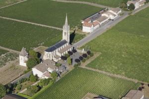 France, Gironde (33), Pomerol, village réputé pour son vignoble tels que  Pétrus, Le Pin, Lafleur, La Conseillante, Gazin, Maillet, Rouget (vue aérienne)