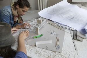 France, Bouches-du-Rhône, Marseille, Campus de Luminy, Université Aix-Marseille, école nationale supérieure d'architecture de Marseille, ENSA-Marseille ou ENSA-M. Maquette de projet.