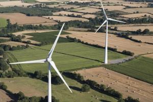 France, Maine-et-Loire (49), Valanjou, champs d'éoliennes (vue aérienne)