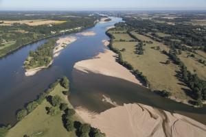 France, Maine-et-Loire (49), Saumur, la Loire (vue aérienne)