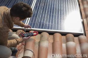 France, Var (83), Toulon,   CFA BTP, Centre de Formation d Apprentis Bâtiment Travaux Publics de Toulon, panneau photovoltaïque sur toiture
