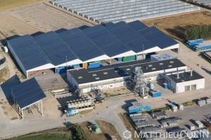 France, Bouches-du-Rhône (13), Tarascon, zone d'activité du Roubian, Provence Tomate, usine agroalimentaire (vue aérienne)