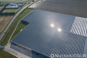 France, Bouches-du-Rhône (13), Tarascon, serres solaires photovoltaique, Provence Plants (vue aérienne)