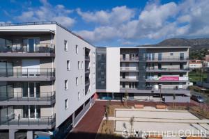 France, Var (83), Le lavandou, Les toiles blanches, programme immobilier du groupe Arcade (vue aérienne)