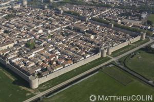 France, Gard (30), Camargue, salins d'Aigues- Mortes,  remparts de la cité médiévale d'Aigues-Mortes  (vue aérienne)