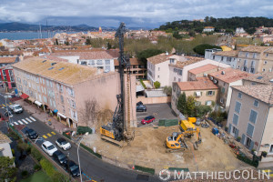 France, Var (83), Saint Tropez, Keller, Fondations spéciales (vue aérienne)