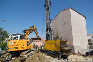 France, Var (83), Saint Tropez, chantier Keller, fondations spéciales