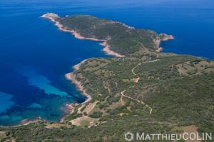France. Corse du Sud (2A), golfe de Peru, commune de Cargèse,  pointe de d'Omigna et tour génoise  (vue aérienne)