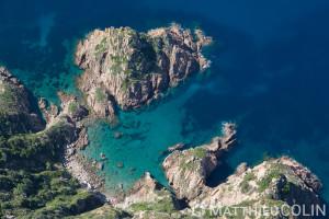 France. Corse du Sud (2A), commune  de Piana, golfe de Topiti, Castellacciu (vue aérienne)