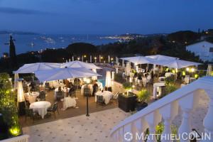 France, Var (83), Gassin, Presqu'île de Saint Tropez, hôtel villa Belrose, 5 étoiles du groupe Althoff avec vue sur la baie de Saint Tropez, restaurant étoilé, un macaron michelin