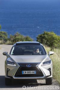 France, Var (83), Ramatuel, Presqu'île de Saint Tropez,baie de Bonporteau et Cap Taillat, Lexus RX450 H Hydrid