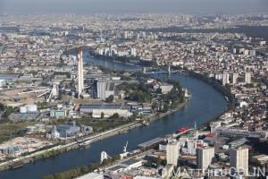 France, Val de Marne (94), Alfortville, centrale électrique, la Seine (vue aérienne)