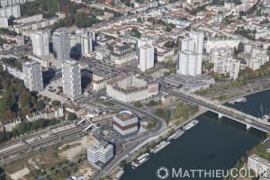 France, Val de Marne (94), Choisy le Roi, quartier de la Gare, la Seine (vue aérienne)