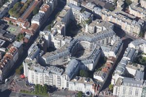 France, Val de Marne (94), Montrouge Square Gabriel Péri (vue aérienne)