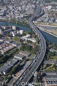 France, Val de Marne (94), Choisy le Roi, la Seine, autoroute A86 (vue aérienne)