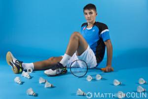 France, Bouches-du-Rhône (13), Fos-sur-Mer,   portrait de Christo Popov,  joueur de Badminton, Yonex