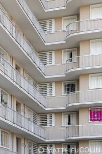 France, Bouches du Rhône (13), Marseille, le grand et le petit Trioulet, résidence de logement social gérée par 13 Habitat et rénovée par STO facade, entreprise applicatrice  Marteau