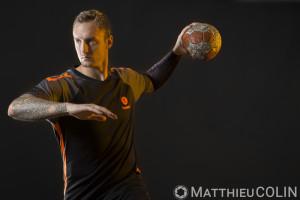 France,Herault (34), Montpellier Handball, MHB, le joueur Valentin Porte, ailier ou arrière droit champion du monde, avec l'équipe de France, Hummel