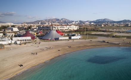 France, Bouches-du-Rhône (13), Marseille, Biennale Internationale des Arts du Cirque Marseille Provence Alpes Côte d'Azur 2019 (vue aérienne) / Photo Matthieu COLIN pour la BIAC