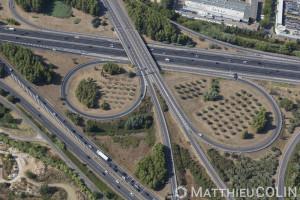 France, Gard (30), Nîmes ouest,échangeur entre l'autoroute A54 et l'A9 ou languedocienne (vue aérienne)