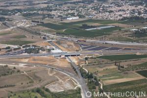 France, Gard (30), Sud-Est de Nîmes, Magna Porta,gare TGV de Nîmes (vue aérienne)