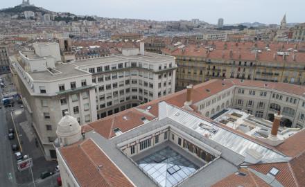 France, Bouches-du-Rhône (13), Marseille, Rénovation de la Poste Colbert, verrière, Les Alérions (vue aérienne)