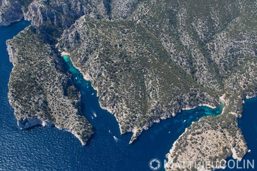 Parc National des Calanques, massif des calanques En Vau, Port Pin (vue aérienne)