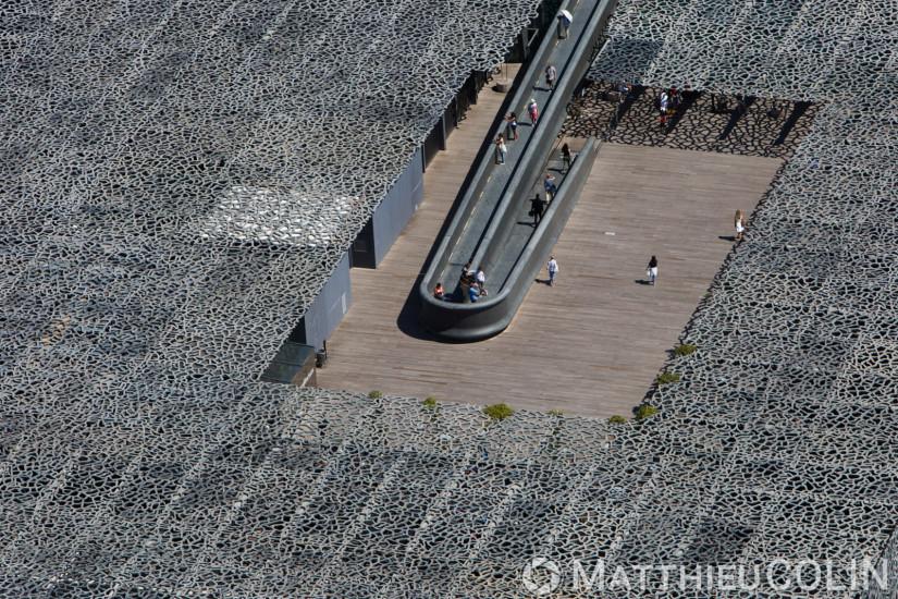 Mucem ou Musée des Civilisations de l'Europe et de la Méditerranée, architecte Rudy Ricciotti et Roland Carta (vue aerienne)