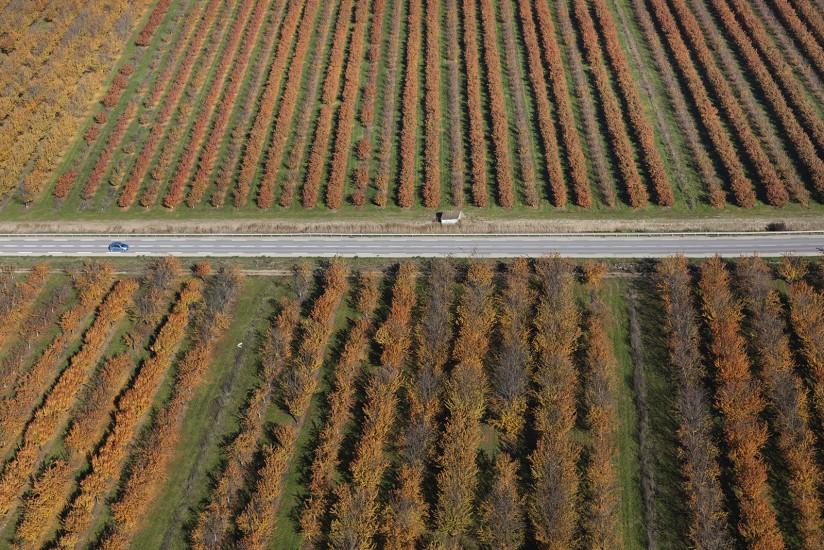 FRANCE - Provence - Bouches-du-Rhône - La vallée de la Durance en automne. Vues aériennes de la vallée de la Durance. Voir le reportage sur Divergence-Images
