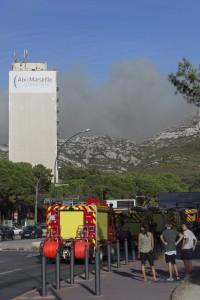 France, Bouches-du-Rhône (13), Marseille, incendie dans les calanques le 5 septembre 2016 au départ de la faculté de Luminy  entre Marseille et Cassis sur plus de 300 ha.