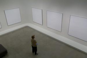 Etats-Unis, New York, Manhattan, musée d'art contemporain Solomon R. Guggenheim sur la 5th avenue, exposition Agnes Martin