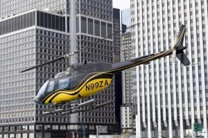 Etats-Unis, New York, Manhattan, downtown, hélicoptère au décollage