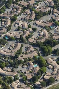 France, Gard (30), Nîmes, Valdegour, quartier en rénovation urbaine (vue aérienne)
