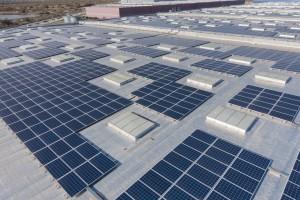 France, Bouches-du-Rhône (13), Port-Saint-Louis-du-Rhône, Port de Fos-Sur-Mer, zone logistique Distriport, Bâtiment B2, Mediaco Vrac, toit solaire UrbaSolar (vue aérienne)