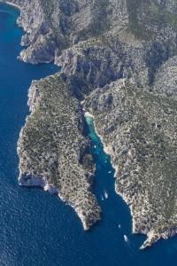 rance, Bouches-du-Rhône (13), Marseille et Cassis, Parc National des Calanques, massif des calanques, En Vau (vue aérienne)