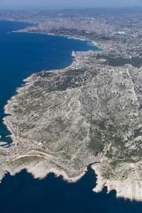 rance, Bouches-du-Rhône (13), Marseille et Cassis, Parc National des Calanques, massif des calanques, callelongue et Marseilleveyre  (vue aérienne)