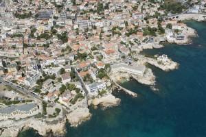France, Bouches-du-Rhone (13),  Marseille,  7 ème arrondissement, quartier d'Endoume, Pointe d'Endoume (vue aérienne)